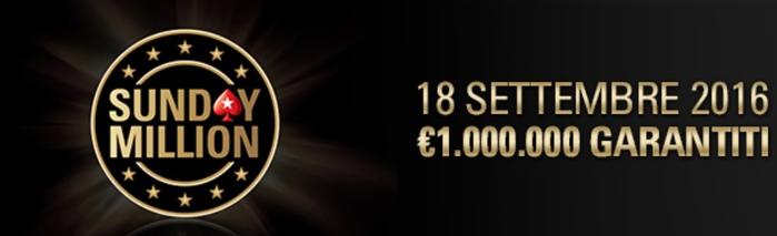 sunday million ritorna 18 settembre 2016 pokerstars